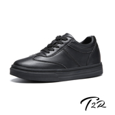 【韓國T2R】韓國空運-全真皮-隱形內增高7公分舒適綁帶休閒鞋-全黑(5985-1926)
