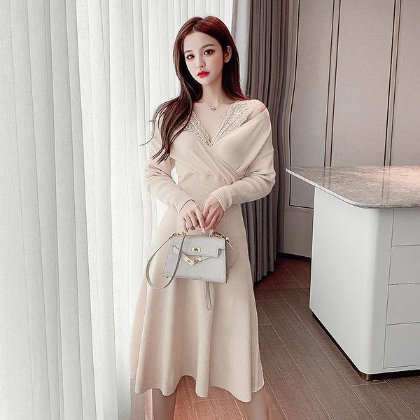 出清388 韓系氣質V領性感蕾絲拼接長版長袖洋裝
