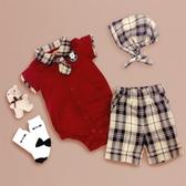 【金安德森】春夏彌月禮盒-帥氣小領帶短兔裝+格子褲-紅色