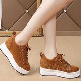 韓版休閒鞋 百搭厚底軟妹松糕鞋加絨內增高鞋