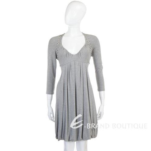 BLUGIRL-Folies 灰色鉚釘水鑽飾七分袖洋裝 0940101-06