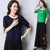 降價兩天 中國風女裝上衣夏裝新款民族風棉麻繡花流蘇大尺碼文藝刺繡襯衫