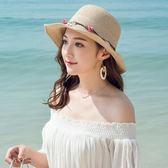 夏季草帽女折疊海邊出游夏天女士太陽帽 LQ3480『小美日記』