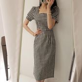 復古泡泡袖方形格子高腰修身連身裙長裙6086#ZL-7F-705-D朵維思