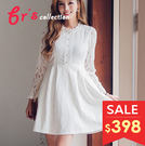 【brs】 高腰 修身 白蕾絲 洋裝