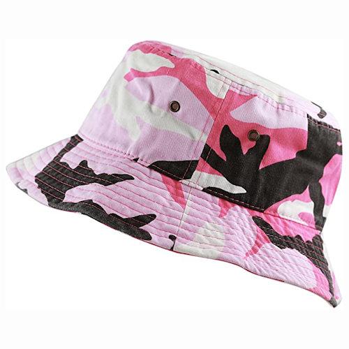 男女防曬遮陽漁夫帽(粉色迷彩)