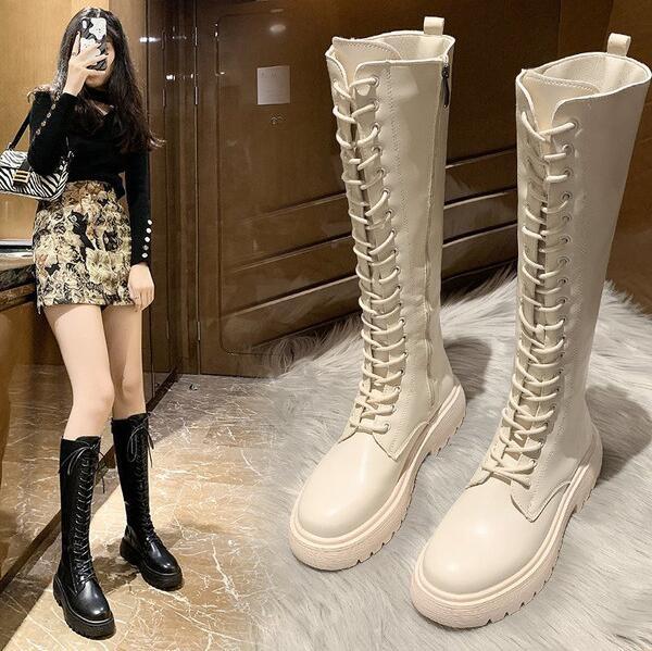 長筒靴 女2020秋冬新款白色騎士小個子過膝長靴高筒中筒