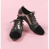ALL BLACK 時髦撞色拼接牛津鞋-黑色