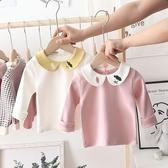 童裝嬰兒秋裝打底衫純棉女童翻領長袖T恤女寶寶白色上衣兒童體恤