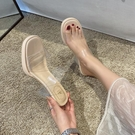 透明拖鞋女外穿高跟鞋氣質2021年新款夏季網紅一字帶水晶粗跟涼拖