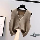 針織衫馬甲開衫外穿女士短款毛衣背心外搭【邻家小鎮】