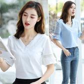 V領T恤女短袖純棉白色上衣2018夏裝新款韓版百搭寬鬆顯瘦半袖體恤【小梨雜貨鋪】