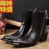 男真皮皮鞋-鉚釘鞋頭英倫搖滾增高男尖頭鞋65ai44【巴黎精品】