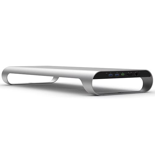 MonitorMate ProBASE X 鋁製 USB 3.0 多功能螢幕架 北歐銀