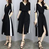 短袖洋裝 顯瘦黑色V領收腰中長款大碼雪紡