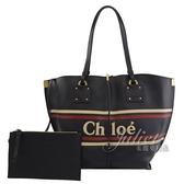 茱麗葉精品【全新現貨】CHLOE 品牌徽章LOGO小牛皮肩背托特包.深藍