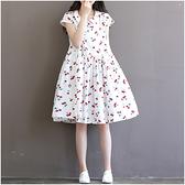 森女系洋裝 森女日系文藝中長款印花連身裙女學生寬鬆短袖娃娃領A字裙女夏裝-Ballet朵朵
