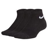 [三雙入] Nike 黑色 Quarter Socks 女款 中童 經典運動短襪 黑 基本款三包裝短襪 短襪 襪子 SX6844010