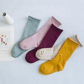 糖果色柔棉捲邊泡泡長襪 童襪 襪子 長襪
