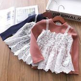 女童長袖T恤螺紋圓領蕾絲上著甜美假兩件打底衫【奈良優品】