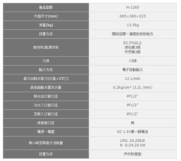 【歐雅系統家具廚具】豪山 HOSUN H-1265 RF式戶外防風型熱水器