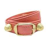 BALENCIAGA 巴黎世家 粉紅色山羊皮金釦手環 Giant Bracelet M 236345 【BRAND OFF】
