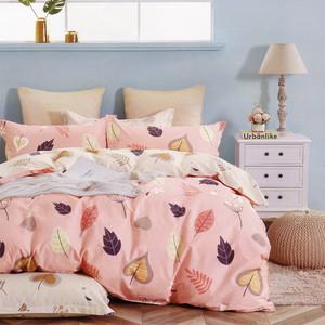 BUTTERFLY-純棉三件式枕套床包組-花葉-粉(雙人)