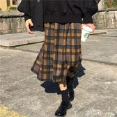 秋冬女裝新款韓版復古百搭鬆緊腰呢子格子半身裙百褶裙中長裙夢依港