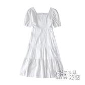 大碼洋裝 白色洋裝子茶歇法式初戀新款夏季女裝大碼胖mm顯瘦桔梗長裙 衣櫥秘密