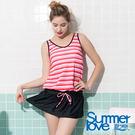 【Summer Love 夏之戀】加大碼條紋連身裙二件式泳裝(S19715)