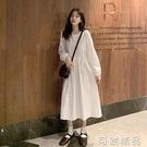 新款裙子仙女超仙森系白色裙法式收腰顯瘦復古洋裝長裙 可然精品