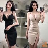 優一居 洋裝連身裙春季女裝性感夜店吊帶V領修身顯瘦高腰斜邊連身裙
