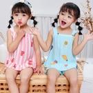 居家服 夏季兒童棉綢睡衣套裝女童兒童綿綢吊帶中大童家居服