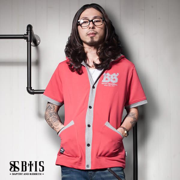 【BTIS】酷帥 短袖連帽外套 / 梅紅色