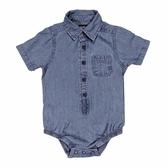 OSHKOSH 襯杉紳士西裝短袖包屁衣 藍牛仔 | 男寶寶連身衣(嬰幼兒/baby/新生兒)