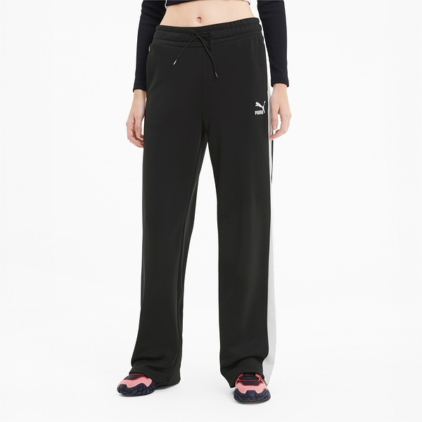 PUMA 運動褲 長褲 WIDE LEG PANTS 黑 白線 滑面 直筒 寬褲 女 (布魯克林) 59885401