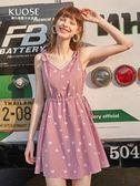 吊帶裙夏季女裝學生寬鬆無袖V領系腰氣質連身裙 法布蕾輕時尚