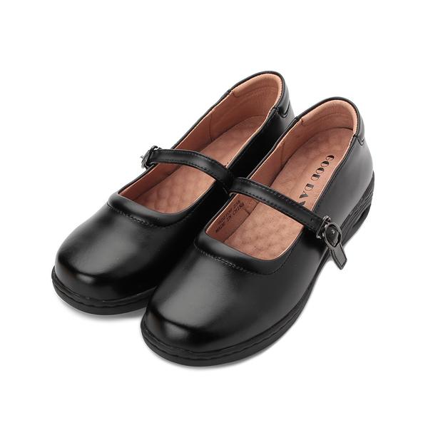 GOOD-DAY 牛皮氣墊楔形娃娃鞋 黑 女鞋 鞋全家福