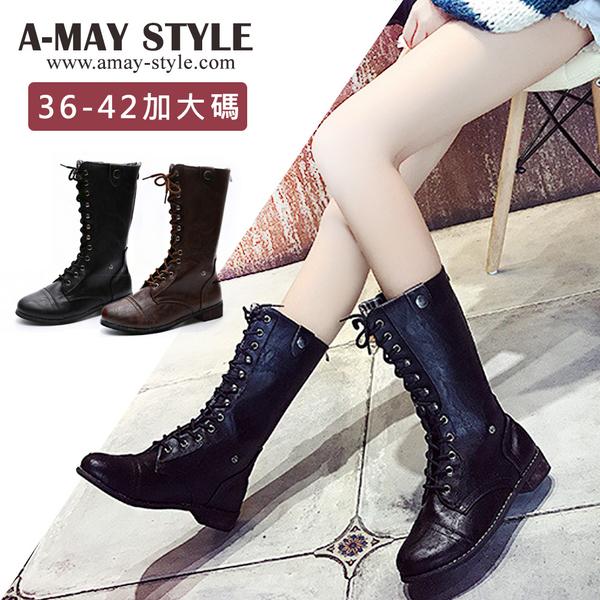 加大碼中筒靴-帥氣復古綁帶中筒靴(36-43碼)