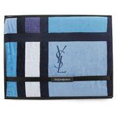 YSL經典LOGO幾何色塊純棉毛巾蓋毯禮盒(藍色)989208-70