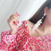 耳環  蕾絲耳環長款耳墜氣質女韓國簡約百搭耳飾潮人耳釘  瑪奇哈朵