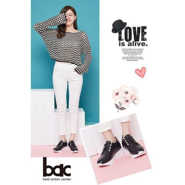 ★新品上市★【bac】時尚樂活 珍珠綁帶內增高休閒鞋(黑色)