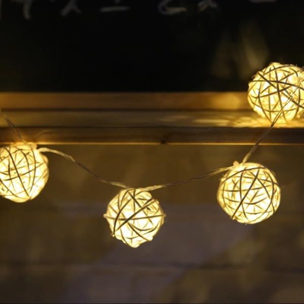串燈LED小彩燈裝飾串燈少女心房間裝飾藤球燈串浪漫創意圓球彩燈閃燈 快速出貨