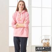 【JEEP】女裝 彩色LOGO刺繡長袖帽TEE (粉色)
