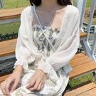 雪纺衫 雪紡開衫上衣外套薄款夏季配裙子超仙外搭洋氣短款小披肩防曬衣女 洛小仙女鞋