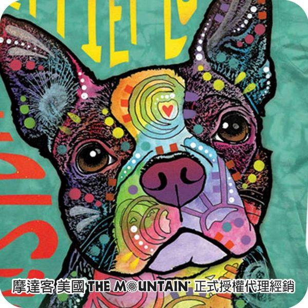 【摩達客】(預購) 美國進口The Mountain 彩繪愛波士頓梗犬 純棉環保短袖T恤(10416045117a)