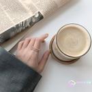 戒指 設計感雙層鏤空女開口可調節食指戒韓國精致微鑲鋯石指環 【8折搶購】