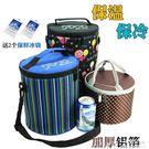 圓形飯盒袋大號手提裝保溫桶袋子套加厚鋁箔保溫袋防水小號便當包 深藏blue