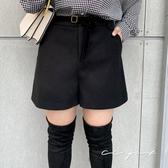 中大尺碼 毛呢口袋短褲(附腰帶)- 適XL~4L《 79147 》CC-GIRL