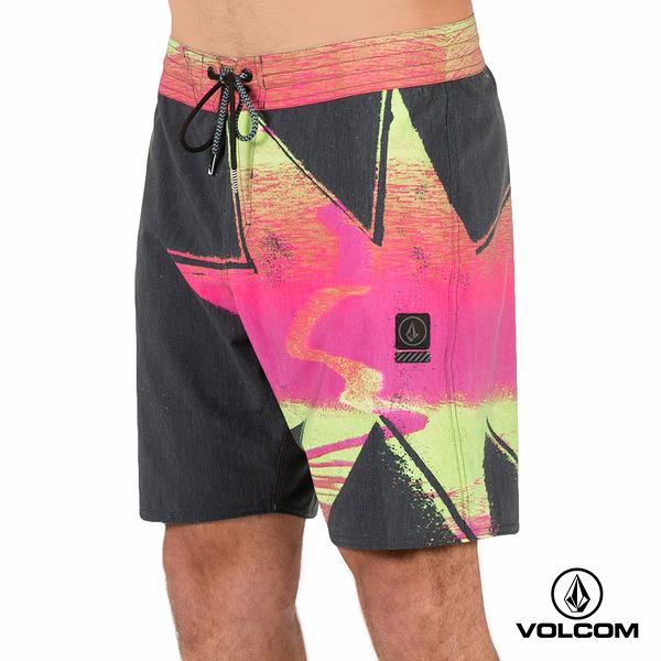 VOLCOM STONEY 印花海灘褲-深灰x黃x螢光粉紅